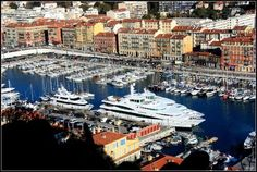 Nice Harbour, France  #nice #harbour #france - there was a disco ball hanging from a crane at the dock.  :)
