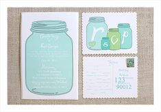 Mason Jar Printable Wedding Invitations by The Wedding Chicks - featured on Inspiration DIY