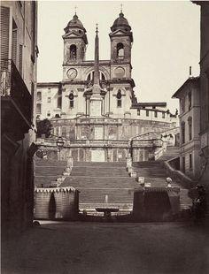 Rome, les escaliers place d'Espagne, l'église de la Trinité-des-Monts 1855 (ca)