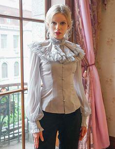 Vintage Shirt Square Neckline Long Sleeves Blouse & Cape Jabot | Etsy Punk Costume, Rococo Fashion, Sexy Blouse, Lolita, Bishop Sleeve, Summer Blouses, Square Necklines, Schneider, Vintage Shirts
