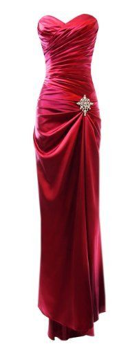 Strapless Long Satin Bandage Gown Bridesmaid Dress Prom Formal Crystal Pin, Red