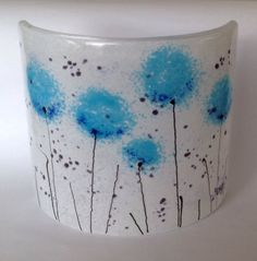 Fused glass candle screen curve www.firedcreations.co.uk