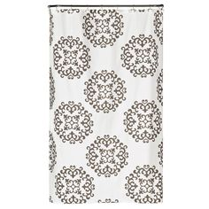 Saturday Knight 72 in. White Damask Fabric Shower Curtain