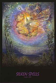"""A fantastic poster of a fairy dancing on a spider web - from the painting """"Silken Spells"""" by British artist Josephine Wall! Check out the rest of our magical selection of Josephine Wall posters! Need Poster Mounts. Josephine Wall, Fantasy Paintings, Fantasy Art, Wall Paintings, Art Expo, Murals Your Way, Fairy Pictures, Fairy Art, Faeries"""