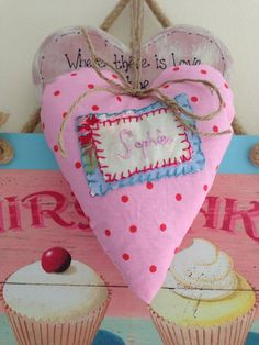Shabby chic personalised hanging heart - Cath Kidston fabrics on Etsy, £6.00