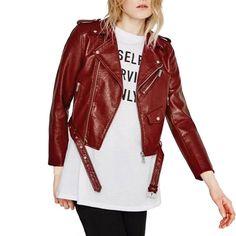 Dark Red PU Short Biker Jacket LAVELIQ
