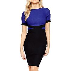 Women's Wear to Work Dresses - WOOSEA Womens Elegant Colorblock Wear to Work Cocktail Party Pencil Dress >>> Want to know more, click on the image. (This is an Amazon affiliate link)