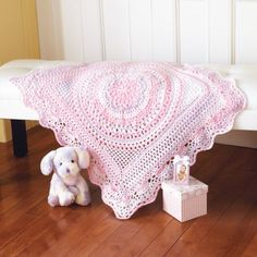 Mary Maxim - Baby Delight Blanket - Delightful pineapple bordered lacy blanket. Shown in (7013) Marshmallow Swirl.