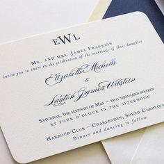 Monogram Wedding Invitation, Navy Wedding Invitation, Traditional Wedding Invitation, Belly Band Wedding Invite - Sample (Free Shipping) $3.30/ea for orders of 175+