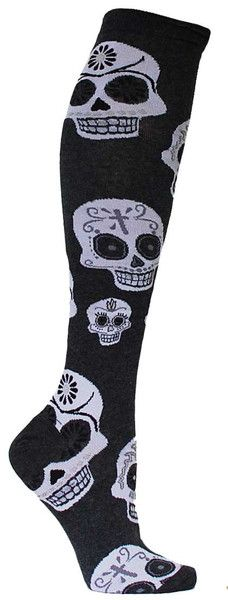 In the spirit of the holiday, show your pride on Dia de los Muertos with these colorful knee high socks with ornate sugar skulls all over them. November 1 may be the day of the dead, but it doesn't me
