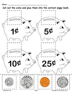 FREE Printable Money Matching Worksheet With Coins! Practice money skills, money recognition, coin value, and more with your kindergartners and 1st graders using this simple matching money worksheet. Get it free here --> https://www.mpmschoolsupplies.com/ideas/7939/free-printable-money-matching-worksheet-with-coins/