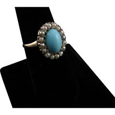 Edwardian 12 karat Gold Ring with Turquoise Paste and Glass Pearls