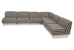 Thayer Coggin Sectional Sofa black and white striped stripes