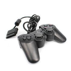 JCT New BLACK PS2 Shock Controller Dual Vibration Gamepad One #JCT