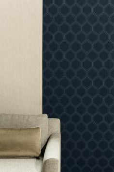 City Loft | blauw hexagon behang, | blue hexagon wallpaper | KARWEI 9- 2017