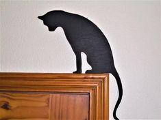 Black Cat Door Topper shelf picture frame wall art 4 variations 3 mm plywood decor black gift cat l Frames On Wall, Framed Wall Art, Wall Art Decor, 2 Colored Eyes, Black Cat Art, Black Decor, Cat Gifts, Painting On Wood, Wood Art