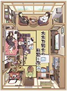 Isometric Art, Isometric Design, Aesthetic Art, Aesthetic Anime, Casa Anime, Japanese Apartment, Ideas Dormitorios, Japanese Style House, Sims House Plans