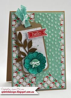 Gorgeous Grunge & Perfect Pennants stamp sets, Baked Brown Sugar, Whisper White, Pool Party & Coastal Cabana cs, Fresh Prints dsp stack, Little Leaves sizzlit, Pansy punch, White Baker's Twine, Decorative Dots embossing folder, Coastal Cabana and Real Red ink
