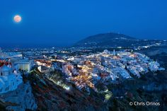 moon of greece photos | Santorini | Greece Full moon and breath-taking view of this jewel of ...