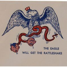 Patriotic WWII 'The Eagle Will Get the Rattlesnake' Envelope