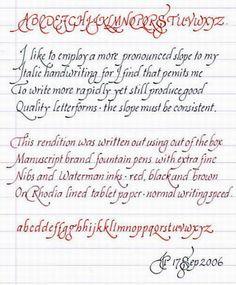 Italic Handwriting Basics.                                                                                                                                                                                 More