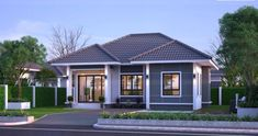 Since the charisma of the one-storey houses or bungalows never go out of fashion, we will again feature other designs of bungalows to inspire you. Modern Bungalow House Plans, Bungalow Floor Plans, Apartment Floor Plans, Bungalow Homes, Cottage Homes, Single Storey House Plans, One Storey House, House Plans South Africa, Free House Plans