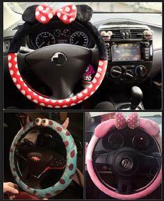 Cute cartoon car steering wheel cover winter plush bow Mickey panda minion women girls wheel covers car styling decorations