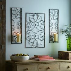 Bronze Scroll Wall Plaque and Sconces, Set of 3 | Kirklands - living room