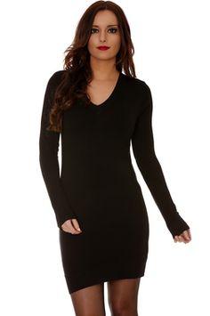 robe pull basique noire col v - Les classiques - 20119