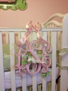 Example of handpainted 14-inch monogram for crib $35.00  Southern Proper Monogram.com  too cute!