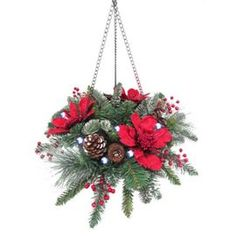 Buy Lit red poinsettia hanging basket from our All Christmas range - Tesco