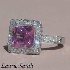pink princess cut engagement rings | Princess Cut Pink Sapphire Engagement Ring with Diamond Halo - LS1477
