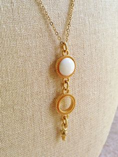 White Necklace with Gold Ring White Resin by CapriciousBijoux, ¥2370