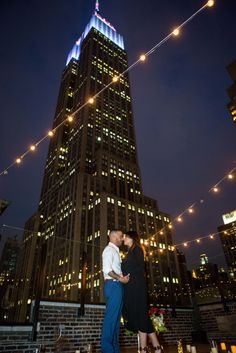 Empire State Building View Rooftop Proposal   #rooftopproposal #proposalideas #engagamenetideas #nycrooftops