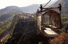 Abandoned cable car in Kot Qala, Pakistan.