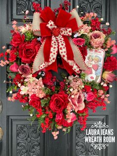 This is made on a grapevine with Artificial roses, flowers and greenery with a bow and valentine sprays. Beautiful for your door or wall Diy Valentines Day Wreath, Valentines Day Decorations, Valentine Day Crafts, My Funny Valentine, Vintage Valentines, Wreath Crafts, Diy Wreath, Diy Valentine's Day Decorations, Holiday Wreaths