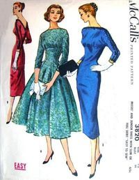 """McCall' 3820; ©1956; Misses' and Junior Dress with Slim or Full Skirt """"Easy to…"""