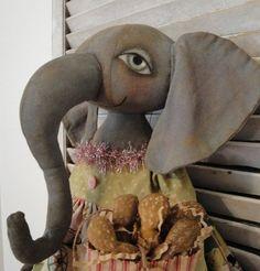 EPATTERN  Miss Ellie primitive folk art elephant by brendasanker