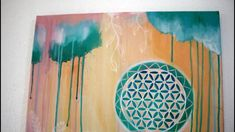 Original Flower of Life Art on canvas Bohemian Art, Boho, Original Artwork, Original Paintings, Sacred Geometry Art, Tropical Colors, Flower Of Life, Canvas Art, Hand Painted