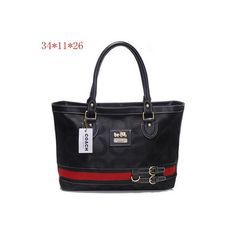 Coach Classic Signature Black Tote Bag Printed Fabric Double Buckle