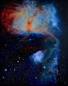 Flame Nebula by Maja Opacic. Painting, oil on canvas. (Reference image credit: NASA, ESA, Hubble Space Telescope