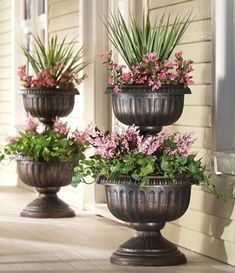 Tiered Antique Finish Urn Planter Eichenbaum this is what you need by the front door. Tiered Planter, Urn Planters, Outdoor Planters, Outdoor Gardens, Planter Garden, Planters For Front Porch, Cheap Planters, Planter Ideas, Container Plants
