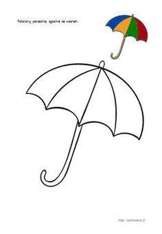 jesień - karty pracy, domino, szablony Felt Crafts, Diy And Crafts, Crafts For Kids, Arts And Crafts, Umbrella Coloring Page, Decoration Creche, Printable Flower Coloring Pages, Umbrella Art, Color Activities