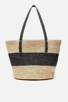 Maxi Striped Tote with Leather Handles - Natural Black b3590aab558