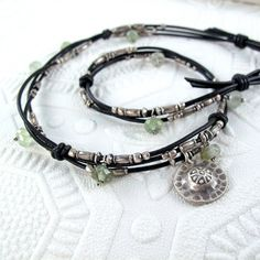 Intertwined Leather Choker with Silver and by BohBiJewelry on Etsy