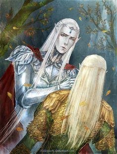 Farewell by Helesssart.deviantart.com. Oropher and Legolas :'(