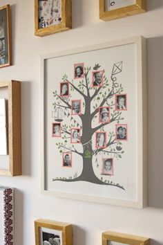 family tree print in pink. Design by: Famille Summerbelle, UK
