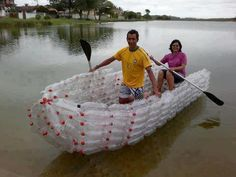 Reduce, reuse, make a boat…recycling done right! Reuse Plastic Bottles, Plastic Recycling, Recycled Bottles, Recycled Art, Recycled Materials, Repurposed, Plastic Milk, Plastic Items, Make A Boat