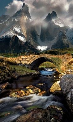 Footbridge leading into Poison Glen near Dunlewy in County Donegal, Ireland • foreground photo: Gary McParland on 500px • background photo of Torres del Paine National Park in Chile: bajerski jean-pierre on Flickr https://www.flickr.com/photos/59614325@N00/119827252 (photoshop composite: unknown digital artist)