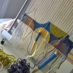 weaving with two different EPI using two shedding devices on my Mirrix tapestry loom